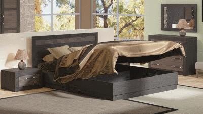 Современная двуспальная кровать с подъемными элементами