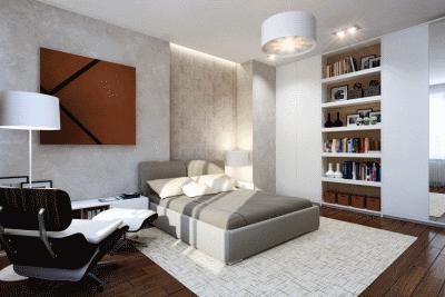 Использование полочек в интерьере спальной комнаты