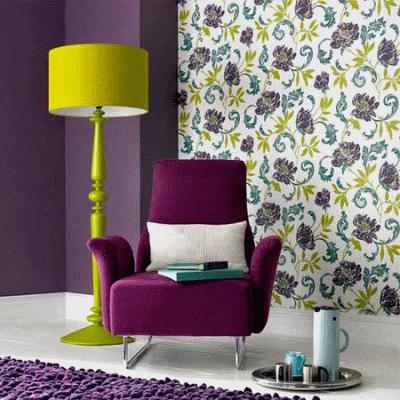Правильно сочетаем фиолетовый и зеленый цвет в дизайне интерьера