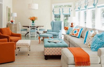 Правильно сочетаем оранжевый и голубой цвет в дизайне интерьера