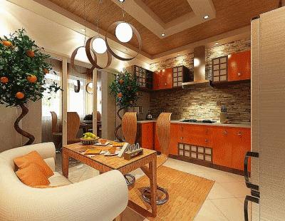Необычная апельсиновая современная кухня