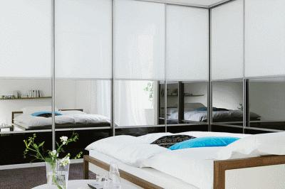Современные шкафы-купе в спальной комнате