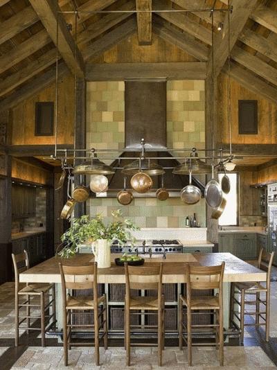 Рассматриваем кухню из натуральной древесины стиля рустик