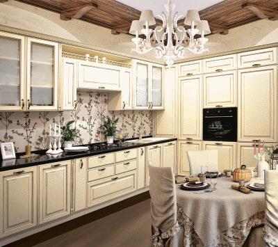 Современная кухонная мебель с фасадами патина