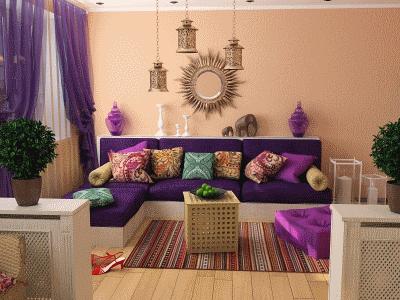 Восточный стиль в гостиной комнате