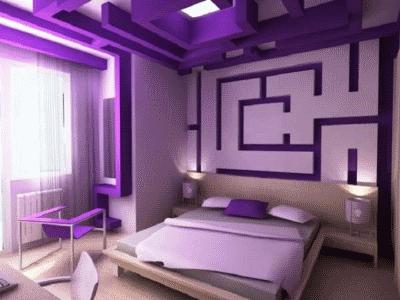 Контрастный и необычный интерьер спальной комнаты