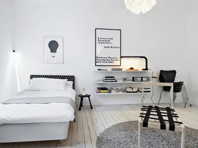 Место односпальной кровати в современном интерьере