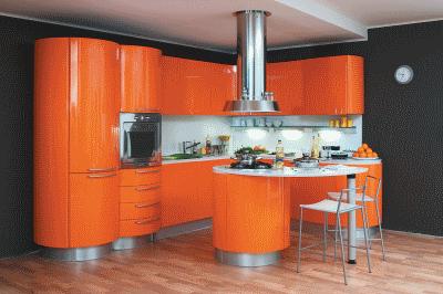 Тонкости современной оранжевой кухни