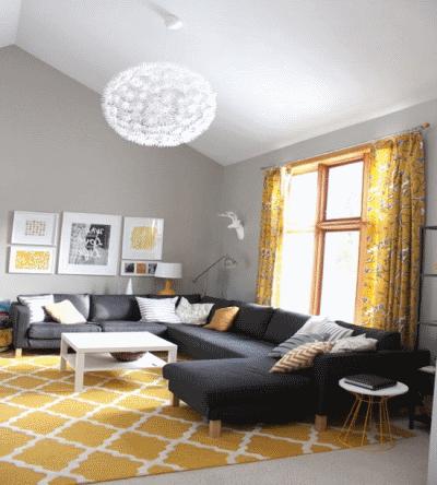 Гармоничное сочетание желтого и серого в дизайне интерьера
