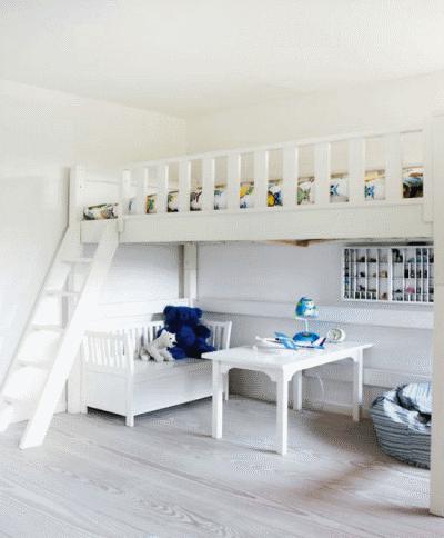 Детская кровать под потолком в детской комнате