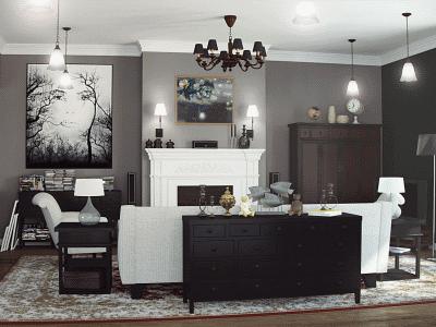 Реализуем вариант гостиной в классическом американском стиле