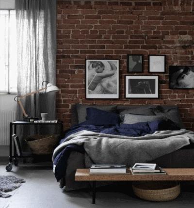 Обустройство спальной в новостройке в стиле лофт