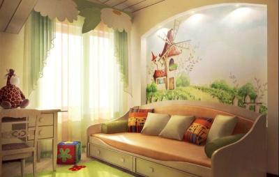 Оформляет детскую комнату вместе с ребенком
